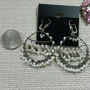 Hippie Boho Stwrling Vintage Earrings Pearl
